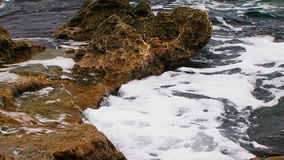 Calm Waves Of Black Sea Gently Washing Rocks stock video footage
