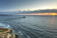 Calm waves off the coast of La Jolla California. The coast of California near the Scripps pier royalty free stock photography