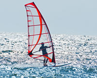 Calm wind surfing. After Swedens west coast with the sun and wind as the driving force on this day royalty free stock images