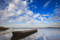 Calm and windless day over the lake in the Netherl Stock Image