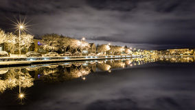 A calm winter night. By the pond royalty free stock image
