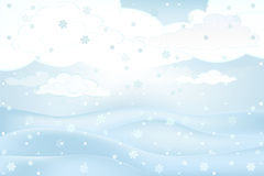 Calm winter outdoors with and snowy hills vector at daily snowfall Stock Photo