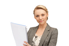Calm woman with big notepad Stock Images