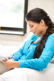 Calm woman with big notepad Stock Image