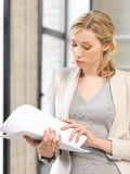 Calm woman with documents Stock Image
