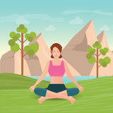 Calm woman is doing yoga and meditation. Royalty Free Stock Photo