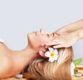 Calm woman enjoying massage Royalty Free Stock Image
