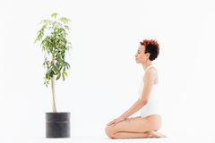 Calm woman with eyes closed sitting near tree in pot Royalty Free Stock Images
