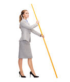 Calm Woman Holding Flagpole With Imaginary Flag Royalty Free Stock Image