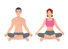 Calm woman and man are doing yoga and meditation  on whi Stock Photo
