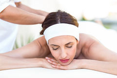 Calm woman receiving reiki treatment Royalty Free Stock Photography