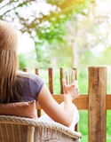 Calm woman relaxing outdoors royalty free stock photography