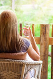 Calm woman relaxing outdoors Royalty Free Stock Photo