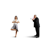 Calm woman and screaming emotional man Stock Images