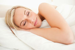 Calm woman sleeping Stock Photo