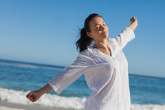 Calm woman stretching Stock Images