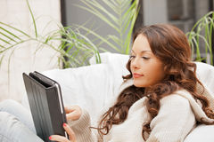 Calm woman with tablet pc computer Stock Photos