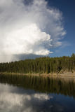 Calm Yellowstone River High Cloud Reflection National Park Stock Photography