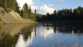 Calm Yellowstone River High Cloud Reflection National Park stock footage