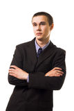 Calm young business man in suit lean Royalty Free Stock Photo