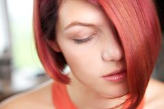 Calm young woman with eyes closed Royalty Free Stock Photos