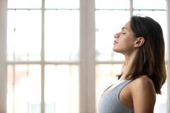 Calm young woman practice yoga with eyes closed. Focused young beautiful sporty woman in sportswear with eyes closed training in fitness studio, calm fit stock images