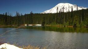 A calma molha o parque nacional de Monte Rainier do lago da reflexão da ondinha filme