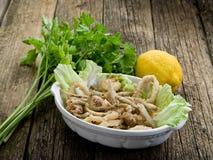 Calmar et crevette frits de poissons Photos stock