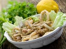 Calmar et crevette frits de poissons Image stock