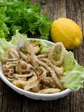 Calmar et crevette frits de poissons Photographie stock libre de droits
