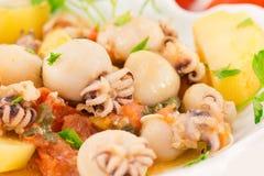Calmar et poissons de pommes de terre Image stock