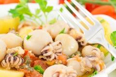 Calmar et poissons de pommes de terre Photographie stock libre de droits