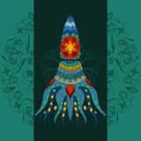 Calmar ornamental dibujada mano vector del Hada-cuento calmar Foto de archivo libre de regalías