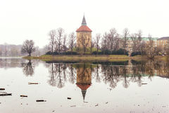 Calming nature and beautiful winter scenes around lake in center of Malmo in Sweden Stock Photo