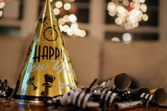 New Years Eve Party Hat. A calming photo of a new years eve party hat after the guests have left Royalty Free Stock Image