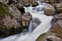 Calming Waterfall. In the woods after a rainfall Stock Images
