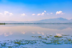 Calmness lake in the morning with mountain. And reflection in the water, Kwan Phayao or Phayao Lake Northern of Thailand Stock Images