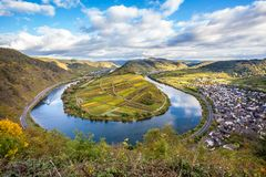 Calmont Moselle loop Landscape in  autumn colors Travel Germany. Calmont Moselle loop Landscape in golden autumn colors and the village Bremm Travel Germany Stock Photos