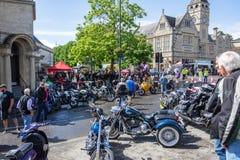 Calne cykeldag 2018 - en årlig dag var show Wiltshire UK för stadvärdsmotorcyle arkivfoto