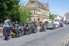Calne cykeldag 2018 - en årlig dag var show Wiltshire UK för stadvärdsmotorcyle arkivfoton