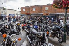 Calne cykeldag 2018 - en årlig dag var show Wiltshire UK för stadvärdsmotorcyle fotografering för bildbyråer