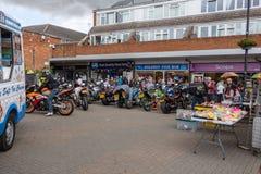 Calne cykeldag 2018 - en årlig dag var show Wiltshire UK för stadvärdsmotorcyle arkivbilder