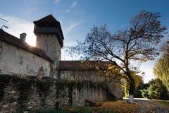 Calnic中世纪堡垒在Transylvania罗马尼亚 免版税图库摄影