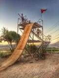 Calo del mountainbike di tramonto nella struttura fotografie stock