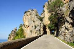 calobra山sa路 马略卡,西班牙 免版税图库摄影