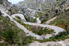 Calobra serpentin de direction SA de route, majorca Image stock