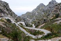 Calobra serpentin de direction SA de route, majorca Photo stock