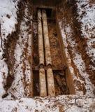 Caloduc provisoire, chauffage des maisons et appartements en hiver images libres de droits