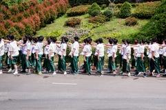 Caloiros que dão boas-vindas à cerimônia da universidade de Chiang Mai, Tailândia Imagem de Stock