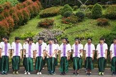 Caloiros que dão boas-vindas à cerimônia da universidade de Chiang Mai, Tailândia Imagens de Stock Royalty Free